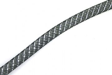 Black coloured nylon mesh tubing with silver colour foil 8mm - 017